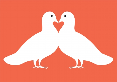 endearment: white kissing doves pair with red heart symbol