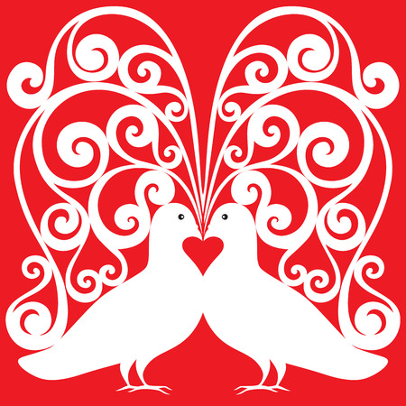 lace like: white kissing doves pair vector pattern
