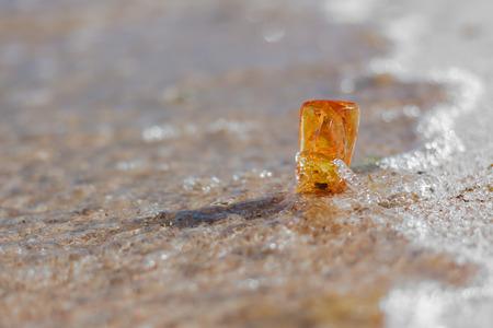 amber stone closeup at Baltic shore