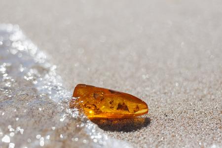 バルト海の海岸で砂の上の昆虫の包含とオレンジ色の石 写真素材