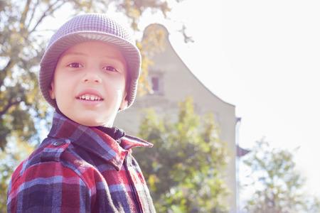 kid happy smile portrait back light outdoor photo