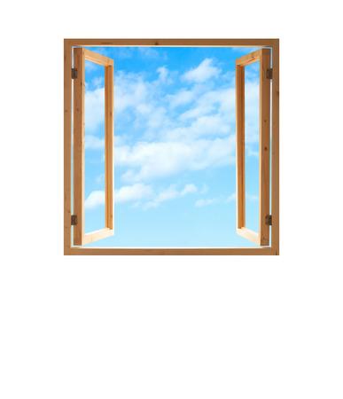 창 열린 나무 프레임 하늘보기 격리 된 흰색 배경 스톡 콘텐츠
