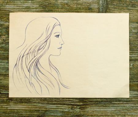 소녀 아름다운 손 그리기 스케치 나무 배경 스톡 콘텐츠