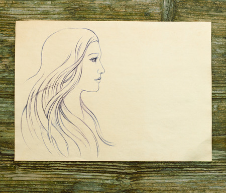 girl beautiful hand draw sketch wooden background
