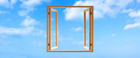 window view: window frame wooden open sky view panoramic