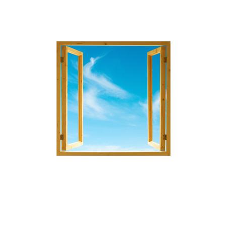 창 프레임, 열린 나무, 하늘보기, 흰색 배경에 고립