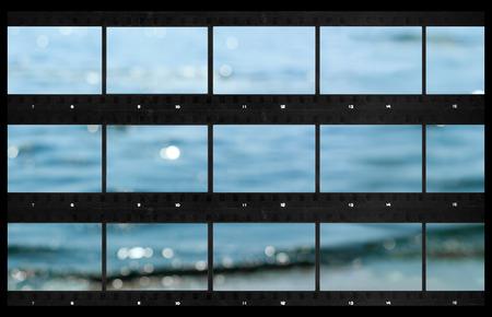 빈 연락처 시트 필름 사진 인쇄 파노라마 바다 defocused 스톡 콘텐츠