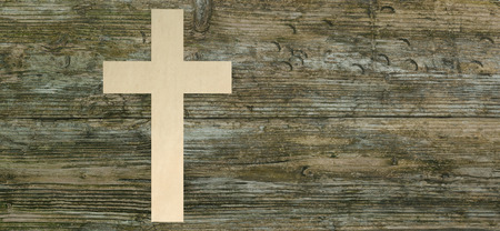 christian cross paper cut wooden background christianity symbol panoramic