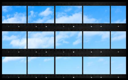 연락처 시트 빈 필름 사진 인쇄 파노라마 하늘 배경 스톡 콘텐츠