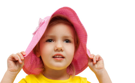 pink hat: child girl pink hat look admire fashion portrait Stock Photo