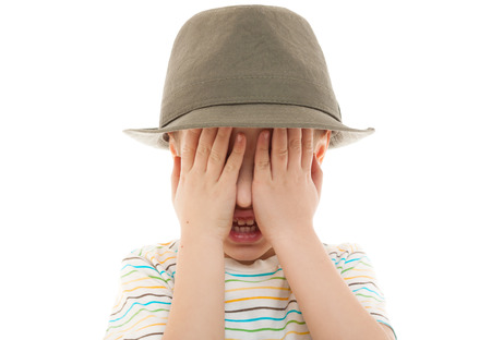 peek: child hide peek a boo hat retro portrait closeup