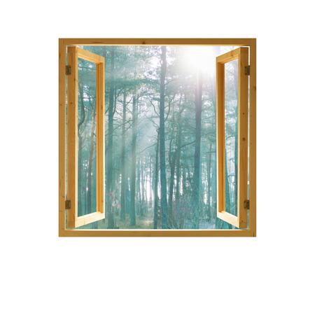window open wooden  frame forest view morning sunlight Standard-Bild