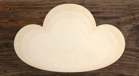 i t: paper piece cloud shape wooden background template Stock Photo