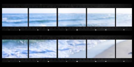 contact sheet: contact sheets film photography print panoramic sea defocused Stock Photo