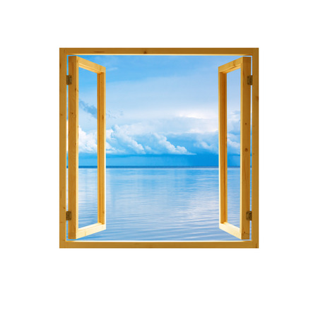 open windows: frame window open wooden sky water clouds view background Stock Photo