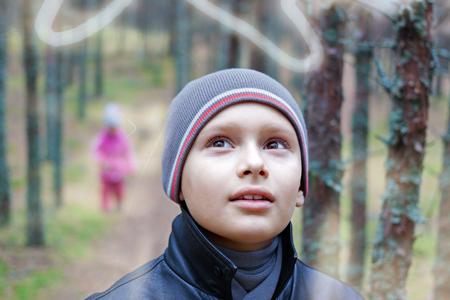 child listen nature portrait double exposure , selective focus