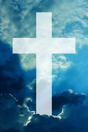 cristian: christian cross sky with clouds background