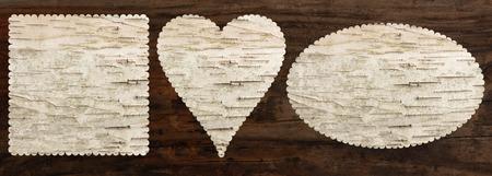 자작 나무 껍질 질감 세트, 심장 타원형 사각형 모양의, 탑 뷰, 오래 된 오크 나무 배경, 클리핑 패스 스톡 콘텐츠