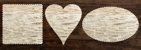 birch bark texture set, heart oval square shaped, top view, old oak wood background, clipping path