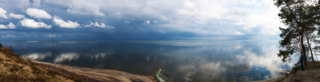 panorama view nature landscape water sky clouds blue