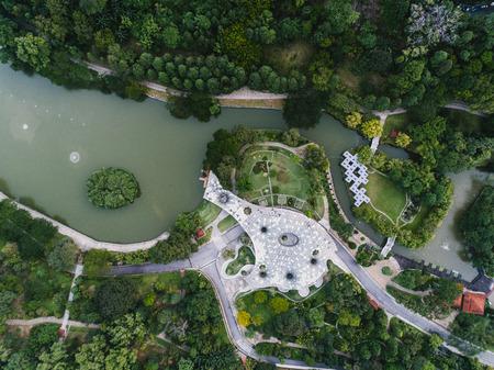 Aerial view of Lake Garden, Kuala Lumpur, Malaysia from a drone. Previously known as Perdana Botanical Garden. Фото со стока