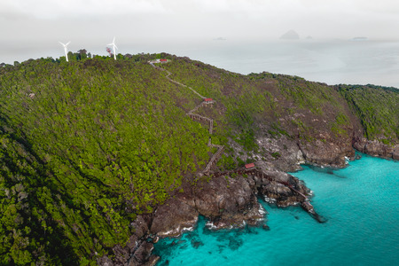 Aerial view of rocky coastline at Perhentian Islands, Terengganu, Malaysia from a Drone