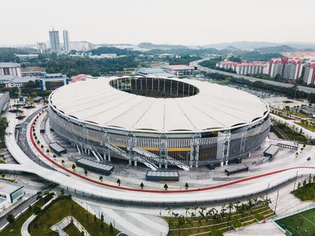 Kuala Lumpur, October 2017 : Aerial view of Bukit Jalil National Stadium, Kuala Lumpur, Malaysia from a drone. Banco de Imagens - 89737601