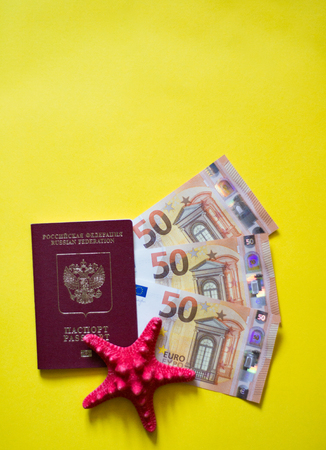 passport euro seashells on yellow background like on beach