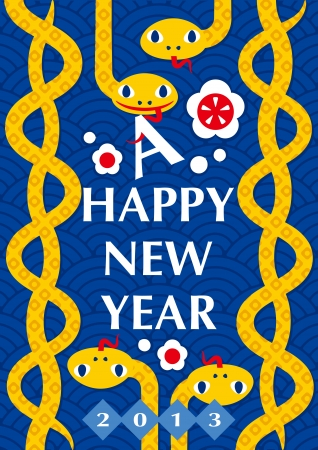 New Year s card of the snake Illustration