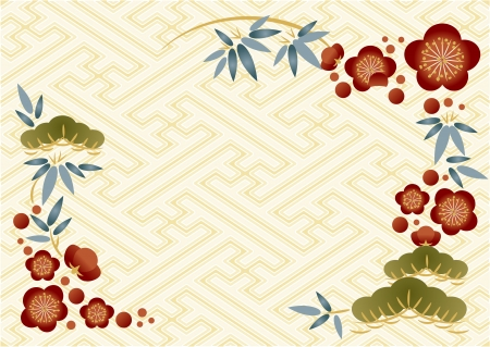 New Year s card of pine, bamboo, and plum Illustration