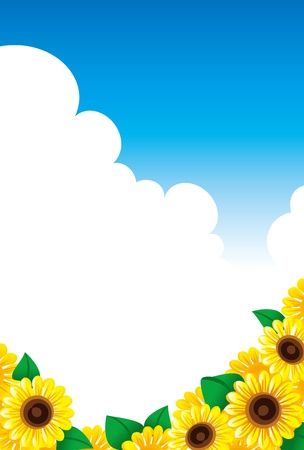 spirited: A sunflower and summer sky Illustration