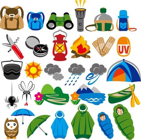 poncho: Icono del camping al aire libre Vectores