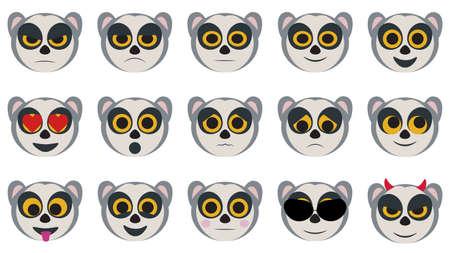 Emoji in the form of lemurs Illustration