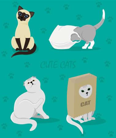 Cute cats. Cat Set. Vector Illustration Cartoon. Cat.