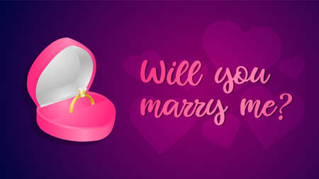 will you marry me notediamond ring in a box vector illustration