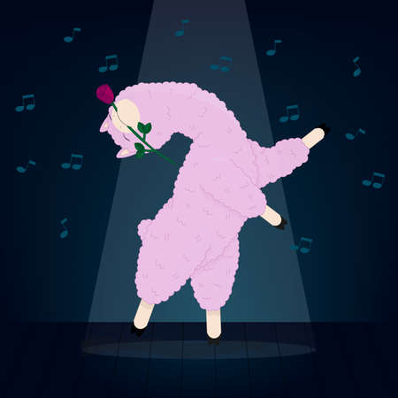 A dancing lama with a rose in her teeth vector illustration Stock Illustratie