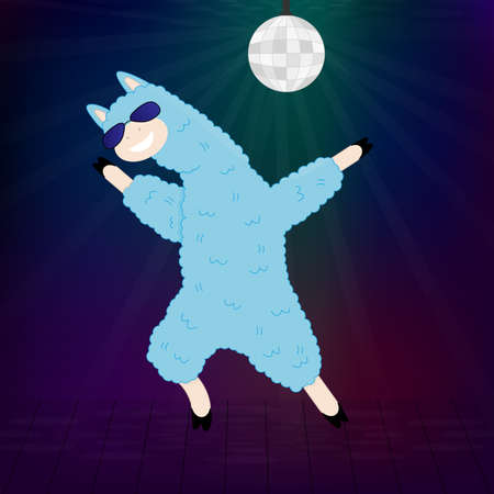 A dancing llama with sunglasses Vector illustration EPS10