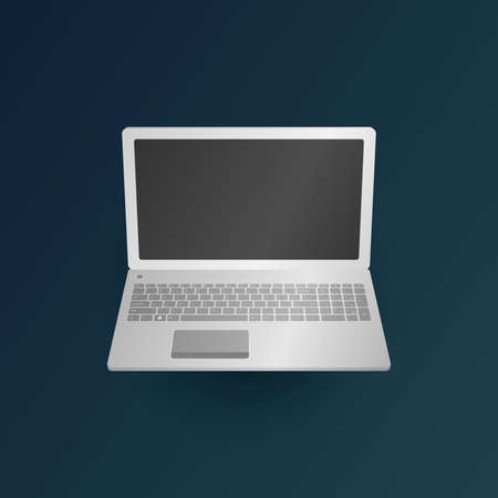 leptop at dark green background vector Illustration 向量圖像