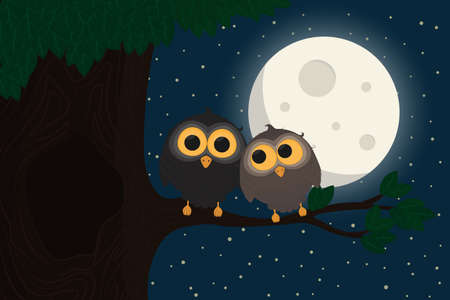 Two cute owls sit at branch under the moon. Vector illustration