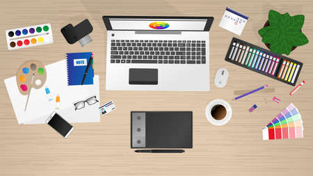 Workplace of office worker, designer. Vector background