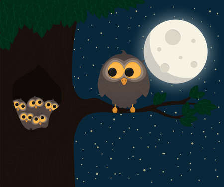 cute owl sit at hollow under the moon. Vector illustration