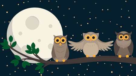 Cute owls sit at branch under the moon. Vector illustration