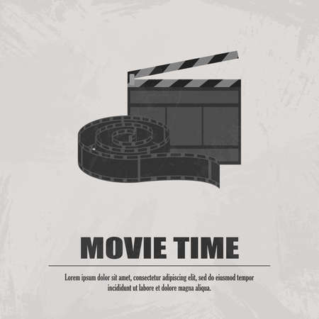 Grey movie clapboard with movi strip at light background vector illustration