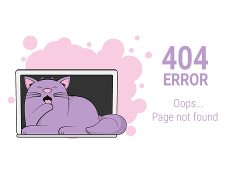 404 error page not found. Funny fat cat it at laptop Vector illustration Cartoon