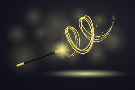 Vector illustration colorful magic wand at black background Vettoriali