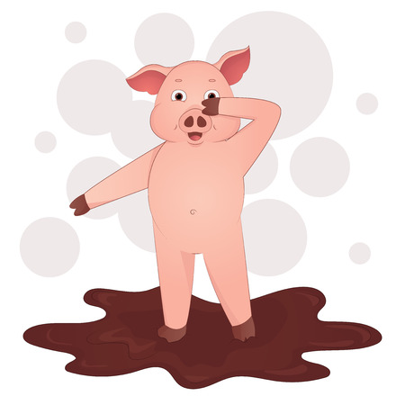 Cute pig in the mud cartoon symbol of the year 2019 vector illustration