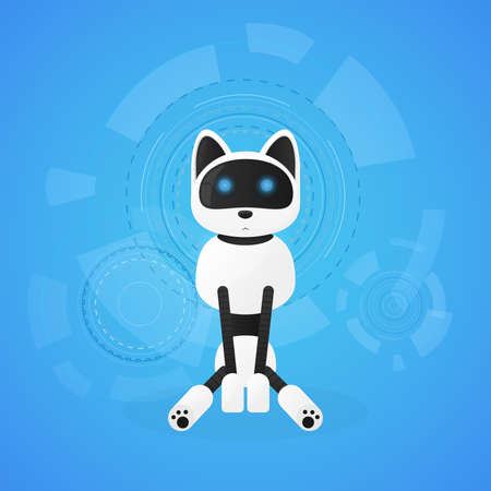 Robot cat. Animal machines working automatically, interactive computer toy pet. Vector flat style cartoon illustration isolated on white background