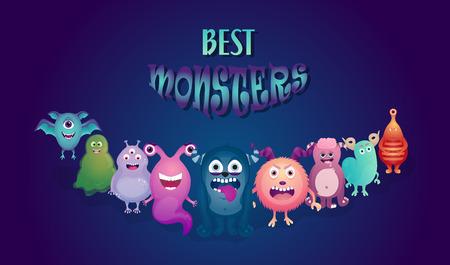 Cartoon monster. Set. Halloween vector monsters Stock Illustratie