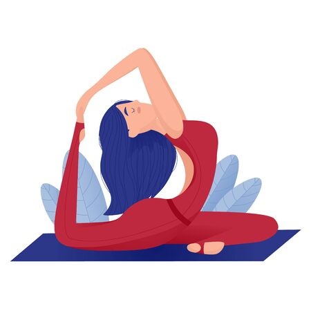 Amazing cartoon girl in yoga pose. Practicing yoga. Vector illustration.
