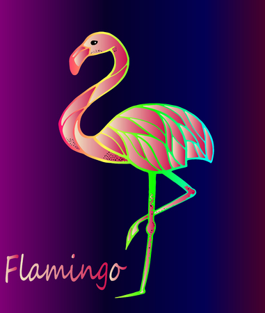 Bright pink flamingo on a purple gradient background. Exotic, rare bird. Beautiful close-up sketch